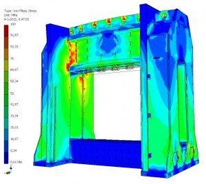FEM staat voor Finite Element Method In gewoon Hollands, eindige elementen methode EEM materiaalspanningen in beeld gebracht. Ook de niet-technici onder ons kunnen zo goed zien wat er speelt in dit geval