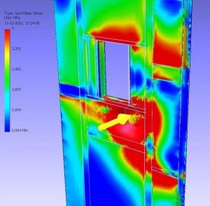 Finite Element Method FEM analyse, belasting op kritieke zones