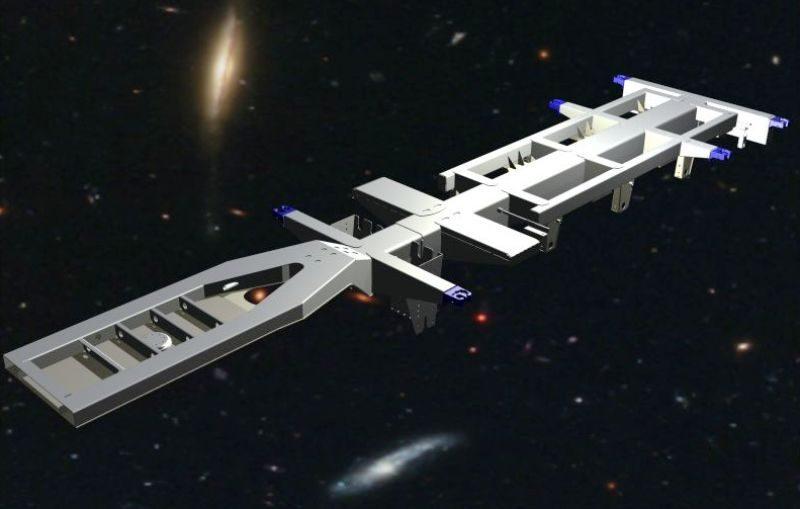 Het FEM rekenmodel van het chassis in z'n geheel gemodelleerd met Autodesk Inventor