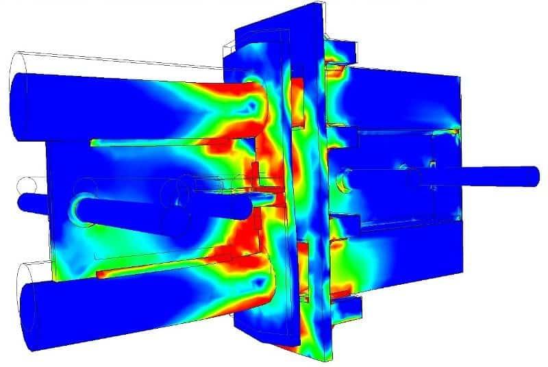Hier zien we een assembly strength analysis van het actuele simulatiemodel (rekenmodel)