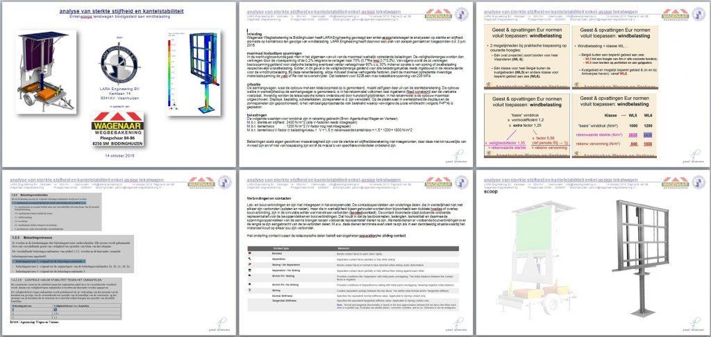 rapport FEM sterkteberekening enkel-asssige tekstwagen pag 1 tm 6