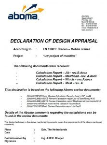declaration of design appraisal