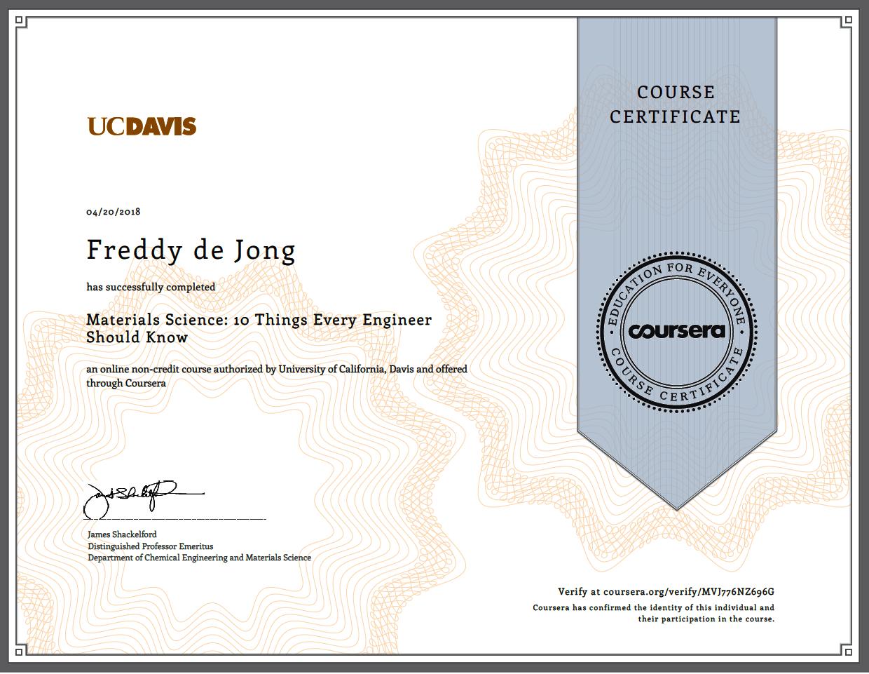 certificaat materialenleer