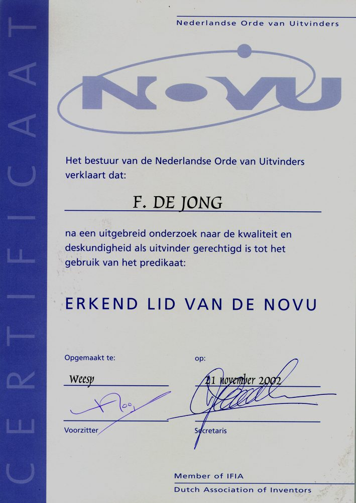 certificaat Nederlandse Orde Van Uitvinders