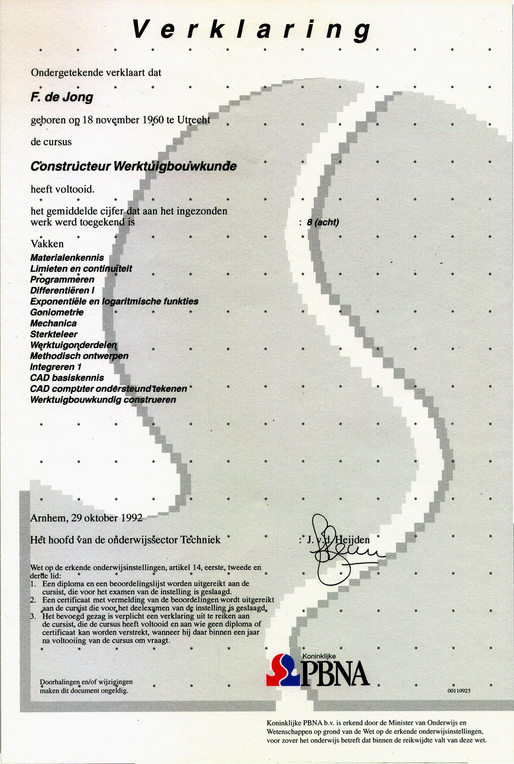 certificaat werktuigbouwkundig constructeur