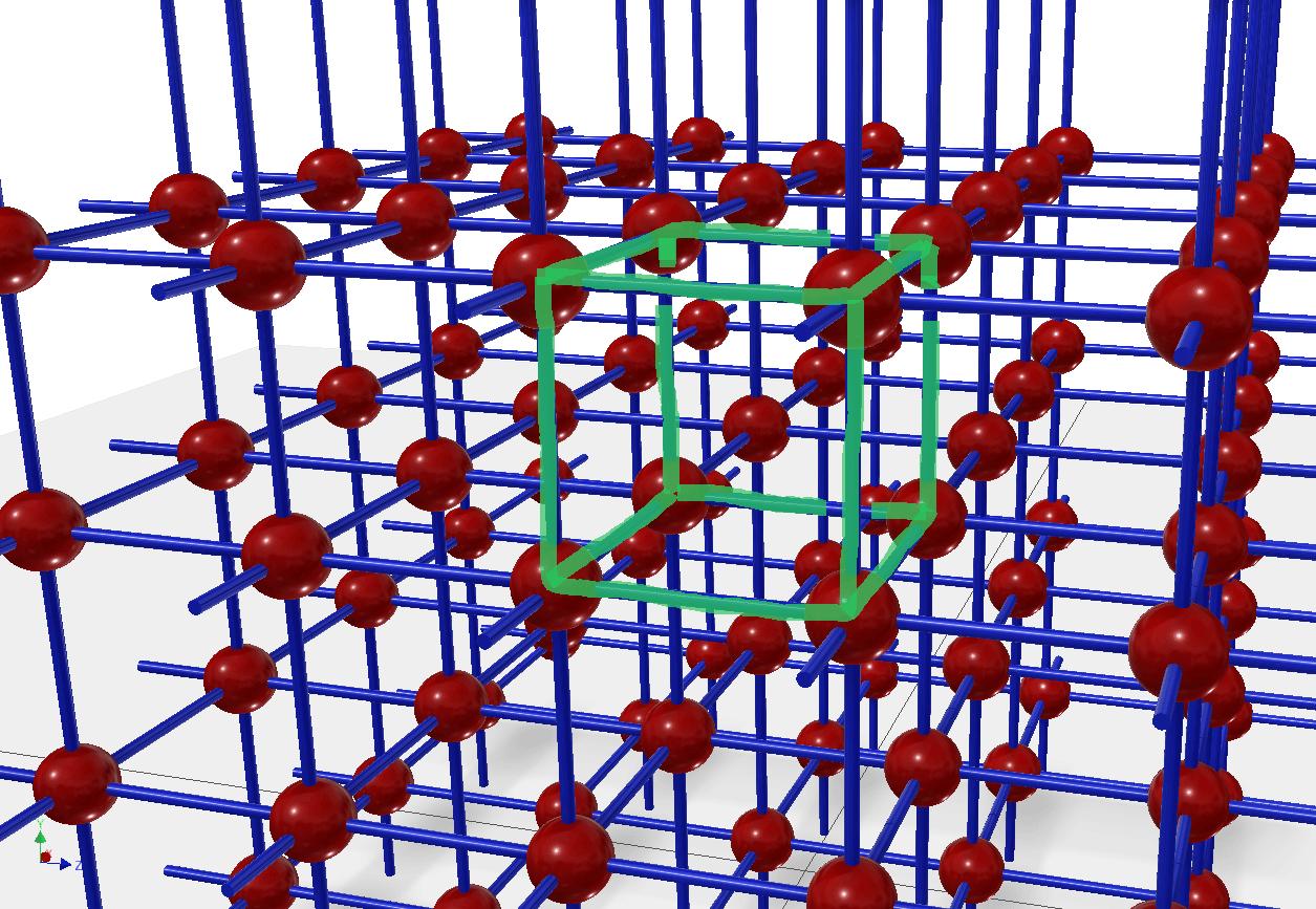 3D weergave van een cel in het kristalrooster